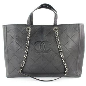 Chanel Black Quilted Caviar 2way Shopper Tote
